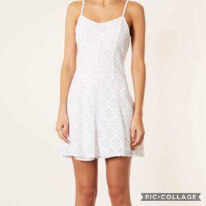 Topshop White Rose Floral Fit & Flare Dress Sz 4